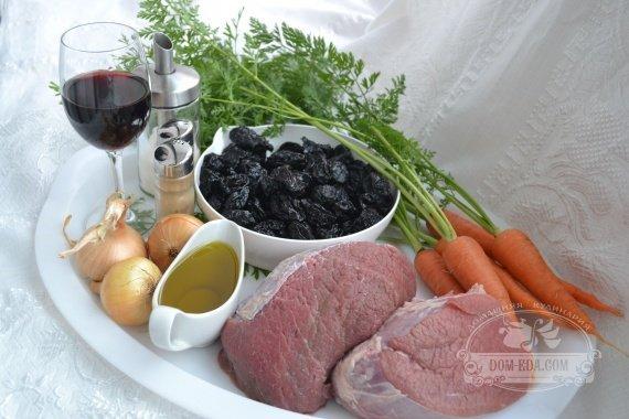 Ингредиенты к рецепту: Мясо по-гречески с черносливом и корицей