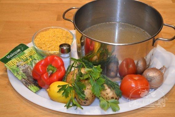 Ингредиенты к рецепту: Суп из жёлтой чечевицы