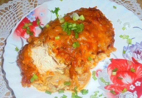 Куриное филе в овощной шубке