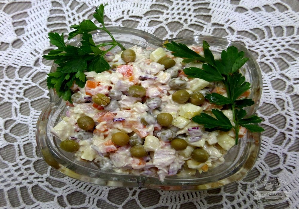 Салат из курицы с зеленым горошком рецепт с