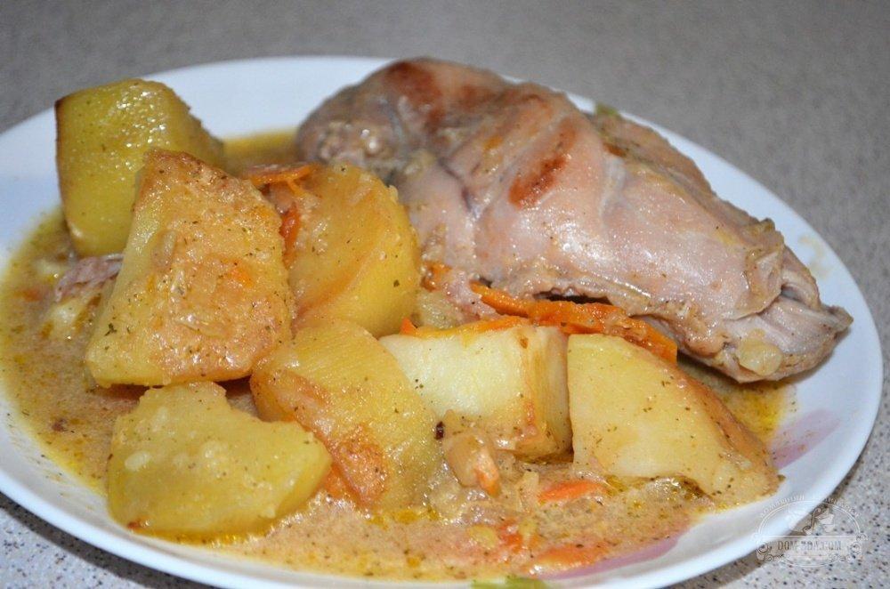 жаркое из кролика с картошкой в казане