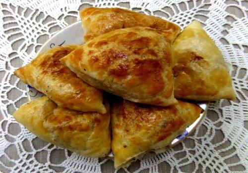 Домашняя самса с мясом, картошкой и луком