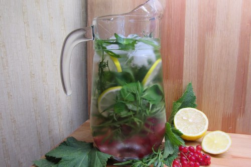 Освежающий напиток с тархуном, лимоном, мятой и ягодами
