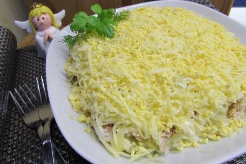 """Салат с горбушей """"Мимоза"""""""